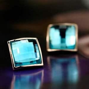 18K-Rose-Gold-Filled-GF-Square-Stud-Wedding-Earrings-With-SWAROVSKI-Crystal