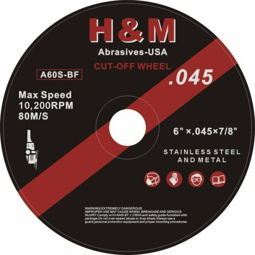 "20PK 6/"" x .045/"" x 7//8/"" CUT-OFF WHEEL FOR ANGLE GRINDER INOX CUTTING DISC"
