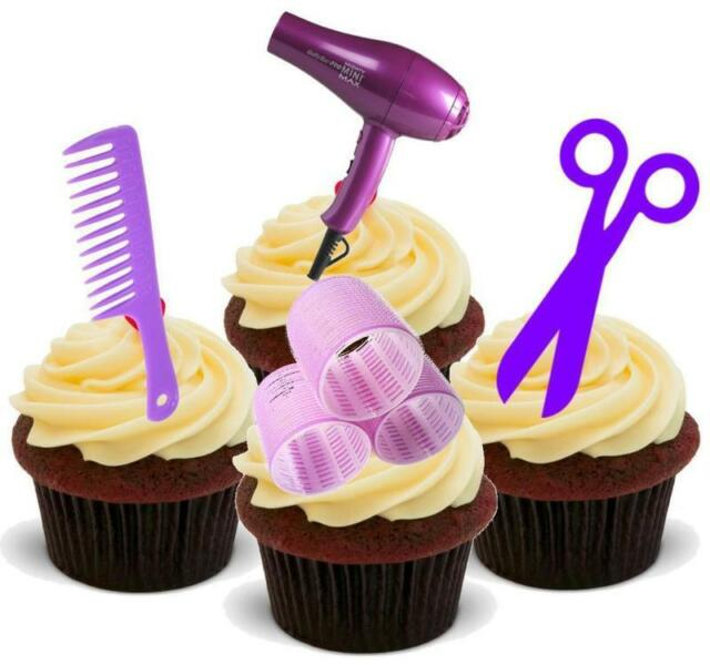 Novelty Purple Hairdressing Mix 12 Stand Up Edible Cake Toppers Hairdresser Hair