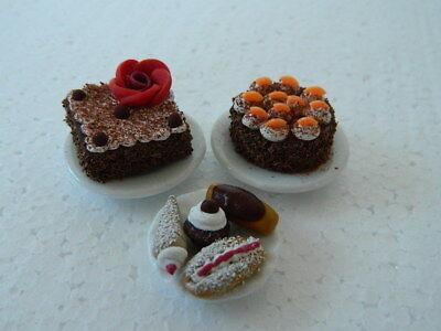 (c6) 1/12th Scala Casa Delle Bambole Torta Torte: Fatti A Mano Set-mostra Il Titolo Originale Lasciamo Che Le Nostre Merci Vadano Al Mondo