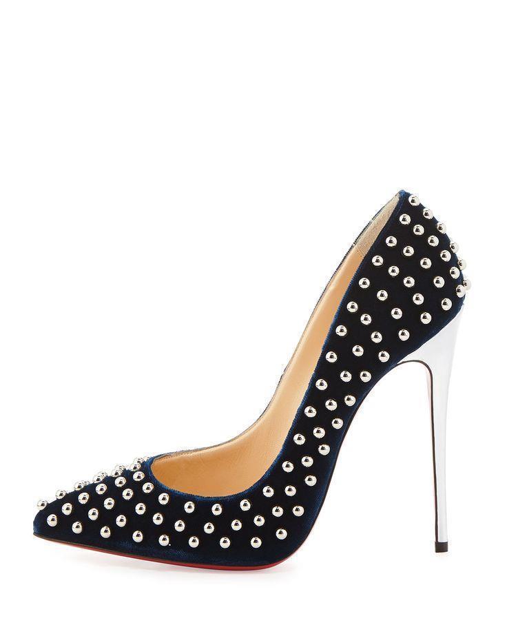 Christian BILLY Louboutin BILLY Christian Studded Velvet Spiked Metallic Heel Pumps Shoes $1495 d296b4