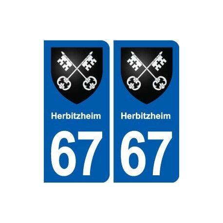 67 Herbitzheim blason autocollant plaque stickers ville arrondis