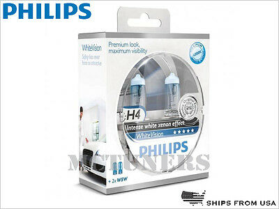 NEW! PHILIPS WHITE VISION H4 12342WHVSM HALOGEN LIGHT BULBS | PACK OF 2