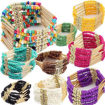 ZOCA Bohemian Charming Beaded Bangle Bracelet Multilayer Womens Fashion Jewelry