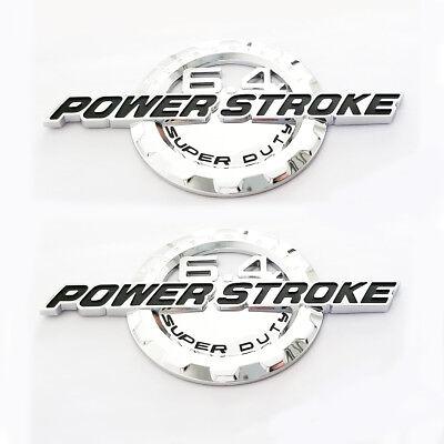 2x OEM Chrome 6.2L V8 SUPER DUTY Boss Side Fender Emblems Badge F Ford F250 F350