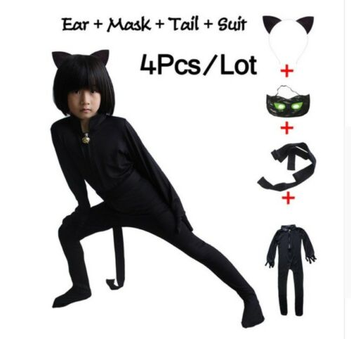 Lady bug Black Cat Noir Cosplay Costume Kids Jumpsuits Set Clothes Mask Ladybug