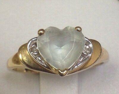 14k YELLOW GOLD AQUAMARINE HEART PROMISE RING LOVE WOMENS LADIES 6 Valentines