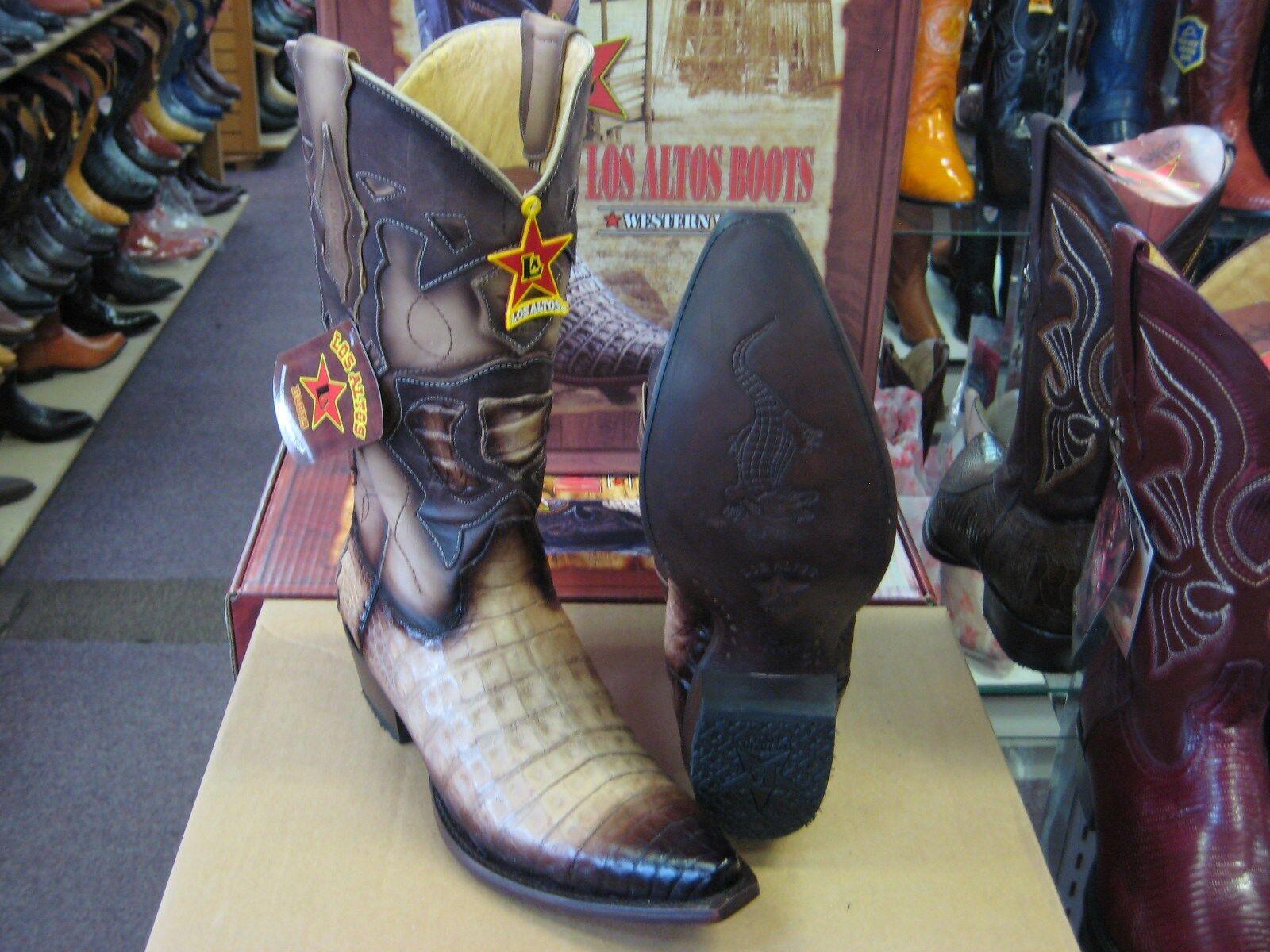 LOS ALTOS Beige Original Bota Puntera Cocodrilo Western Cowboy Snip (Extra Grande +) 928215