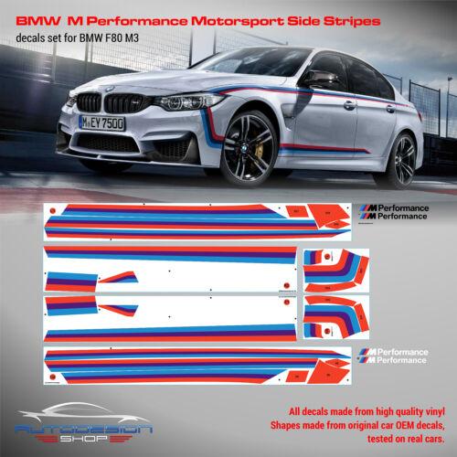 BMW M Performance Motorsport Side Stripes decals Set for F80 M3