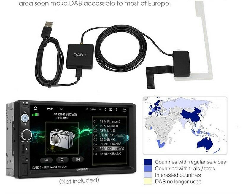 BUILT-IN ANTENNA DAB Box Digital Radio Tuner USB DVD For Android 5 1 Auto  Car