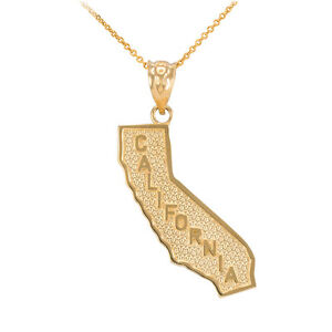 Fine 14k yellow gold golden state california cali map pendant image is loading fine 14k yellow gold golden state california cali aloadofball Choice Image