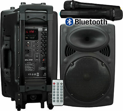 PORTABLE PA SPEAKER SYSTEM INC 2 WIRELESS MICROPHONES BLUETOOTH MP3 XDEM