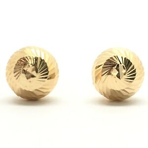 18k Solid Yellow Gold Ball Earrings 7mm