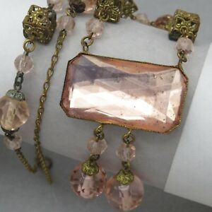 Vtg-1930-s-Art-Deco-Czech-Vauxhall-Pink-Rose-Cut-Glass-Dangle-Pendant-Necklace