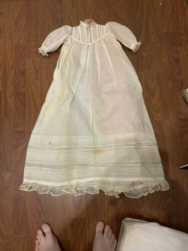 Vintage 1860's Christening Dress Stained
