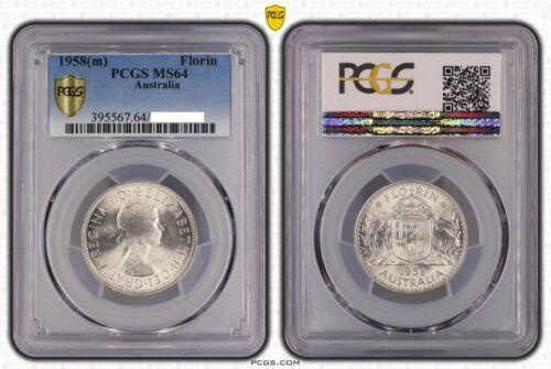 1958-M Australia QE2 Silver Florin Coin PCGS Graded MS64