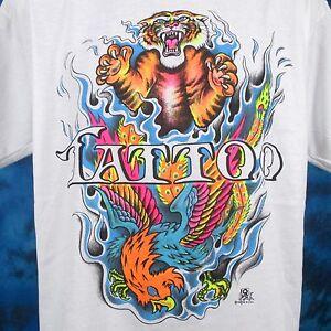 ffab22b21c9 NOS vintage 80s TIGER   PHOENIX TATTOO T-Shirt LARGE XL cartoon ...