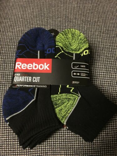REEBOK Boys 6 Pack Quarter Crew Socks Sock Size 7-8.5 Shoe Size 8.5-2 Black
