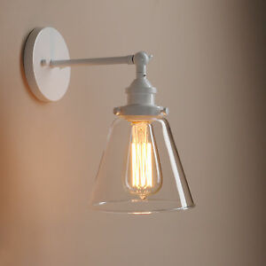 Decorative Wall Lamp Shades : Industrial Vintage Wall Light Edison Sconce Clear Glass Shade Wall Lamp Decor eBay