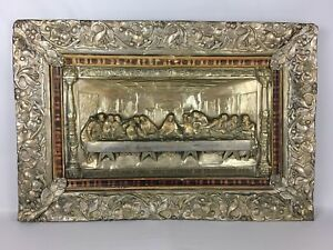 Image Is Loading Antique LAST SUPPER Metal Relief Silver Plate Religious