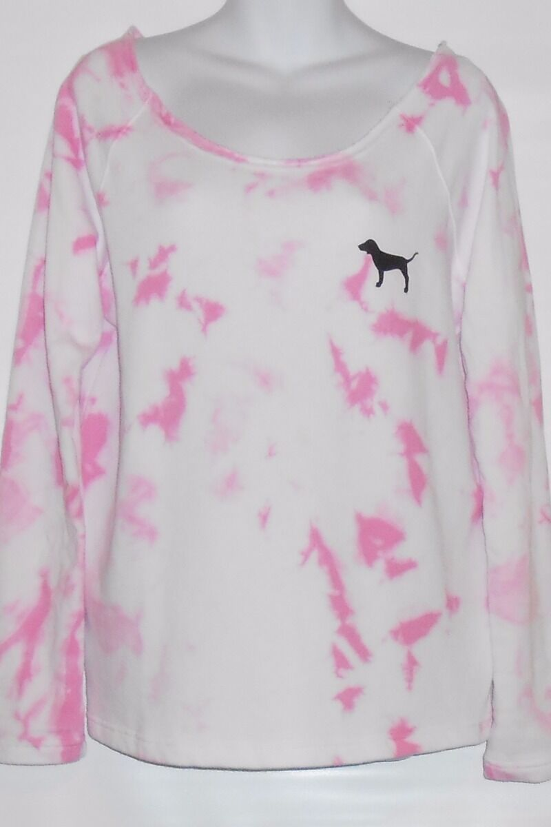 Victoria's Secret Pink French Terry Tie Dye Slouchy Crew Cotton Candy Small (S)