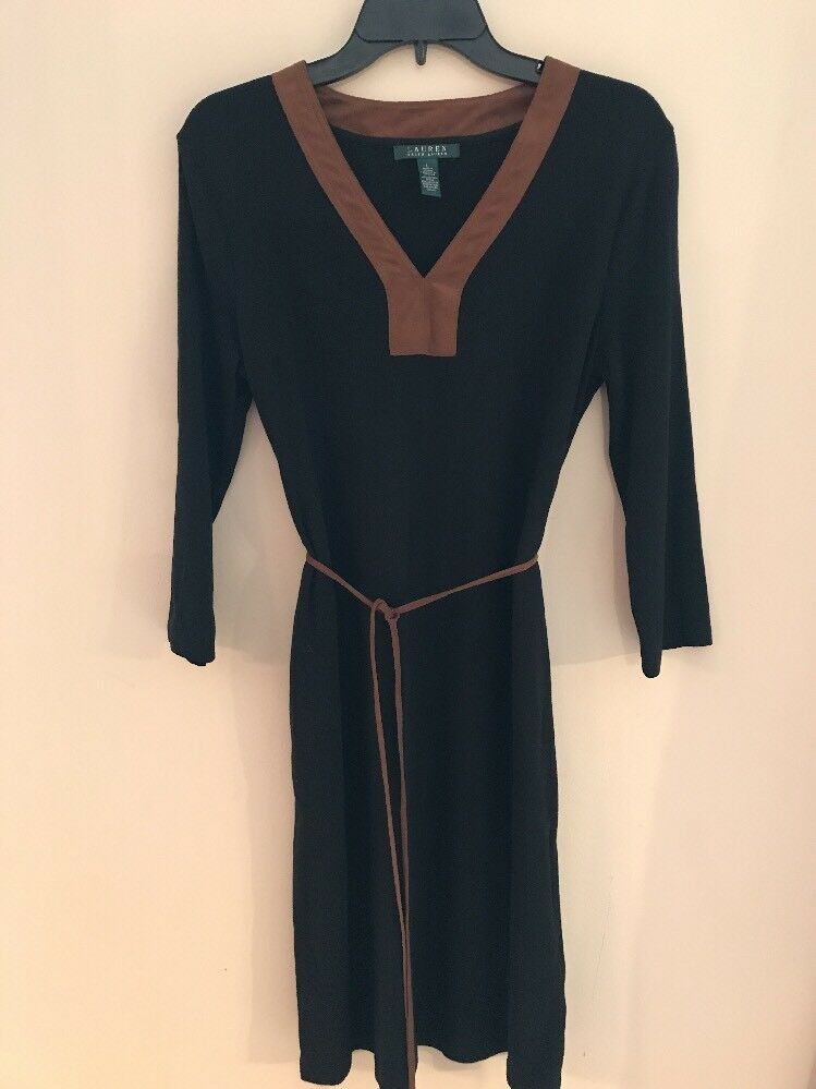EUC Lauren Ralph Lauren Dress Sz L schwarz braun Belt V-Neckline Cotton 3 4 Sleeve