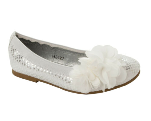 GIRLS FLOWER WEDDING BRIDESMAID PARTY SUMMER PUMPS SHOES INFANTS UK SIZE 9-2