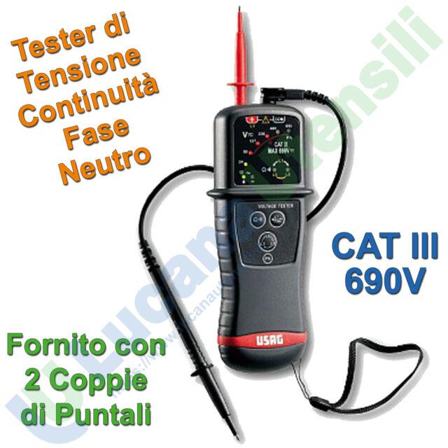 Tester di Tensione USAG Cat III 690V Continuità Fase con Puntali 076 G U00760006