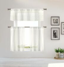 Home Maison Sheer 3 Piece Window Curtain Set Embroidered White Metallic Threads