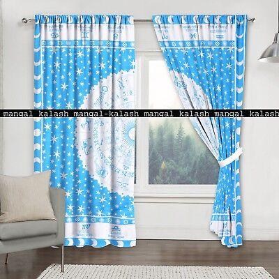 Zodiac Multi Mandala Indian Cotton Drapes Curtains Home Window Door Valances Set