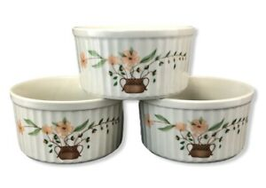 THREE-Countryside-Stoneware-Collection-Ramekins-WRJ-19-Creme-Brulee-Floral-Japan
