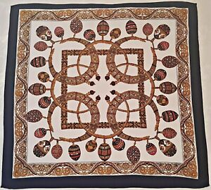 VINTAGE-AUTHENTIC-JEWELRY-ART-DARK-BLUE-RED-BROWN-SILK-34-034-SQUARE-SCARF