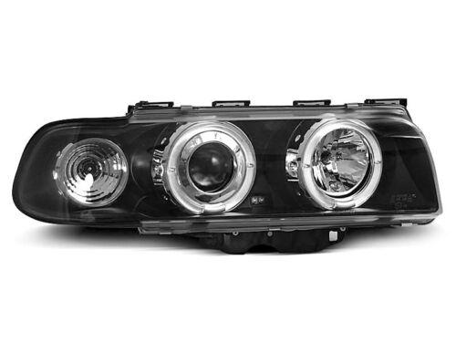 Paire de feux phares BMW serie 7 E38 94-98 angel eyes noir M37