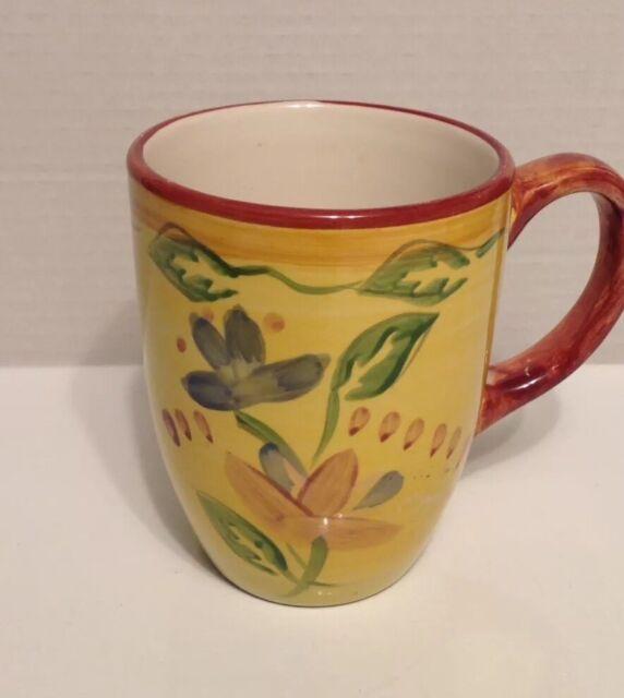 30824609810 Palermo by Pfaltzgraff Everyday Mug Cup Yellow Floral Design 12 Oz 7605697