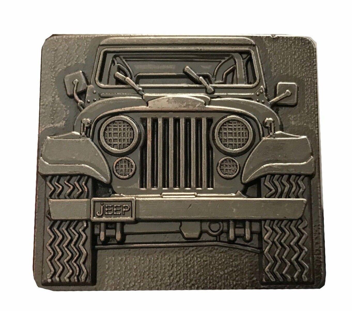 Vtg Jeep Belt Buckle Convertible Wrangler Cherokee Lover Parts Gear Gift Idea
