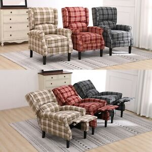 Details about Fabric Tartan Check Wing Back Recliner Upholstered Armchair Accent Sofa Chair