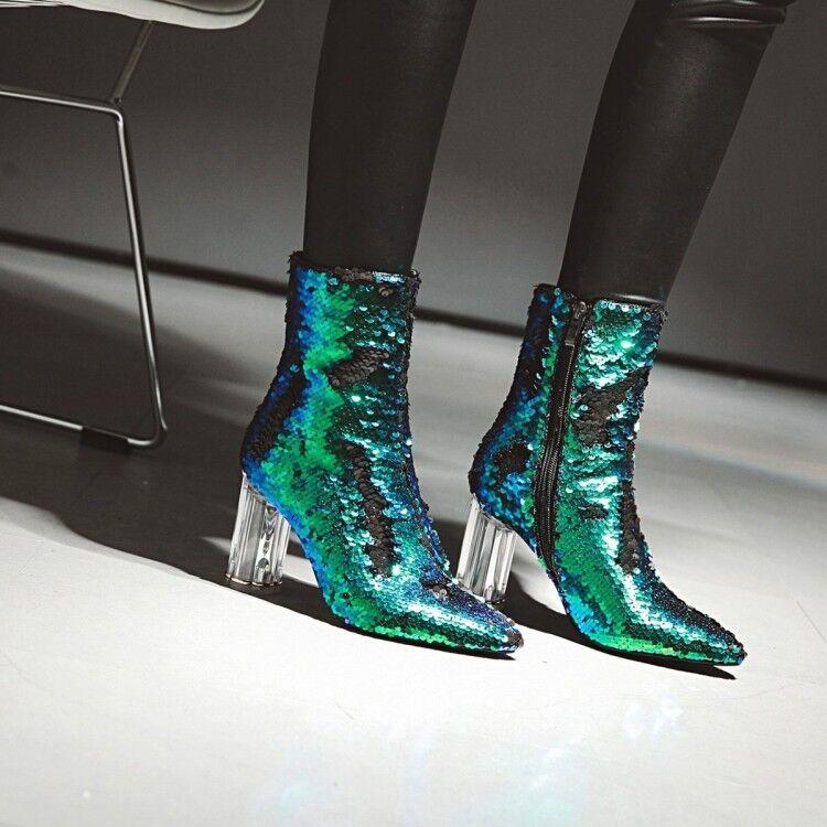 Para Mujer Lentejuelas Brillante Puntera en Punta Punta Punta botas al Tobillo Elegante Cremallera Claro Tacones De Bloque Zapatos  las mejores marcas venden barato