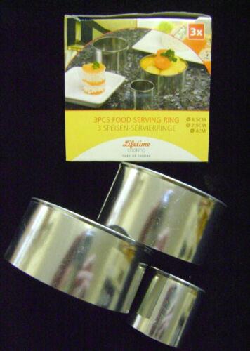 Neu Verpackt Satz 3 Essen Portion Rösti Ringe Verschiedene Größen 8.5//7.5//4cm
