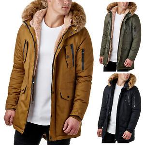 new arrival ed538 12782 Details zu Burocs BR7128 Herren Parka Mantel Winter Jacke Fell Schwarz  Khaki XS-XL