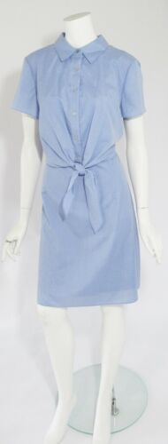 Tahari Blue Short Sleeve Above Knee Button Down Top Tie Front Dress Sz 12,14 NWT