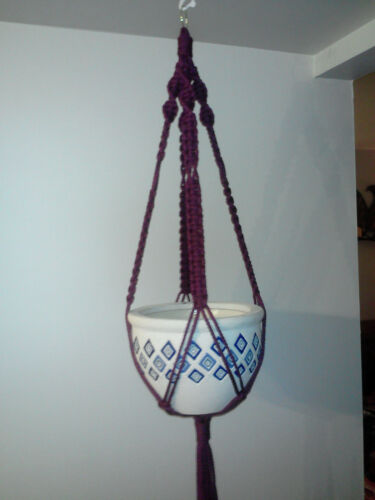 TMP-02 Custom Handmade Macrame Plant Hanger plum in color without beads
