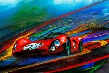 Automotive Car Art 1966 Ferrari 330 P Le Mans endurance motor racing red Italian