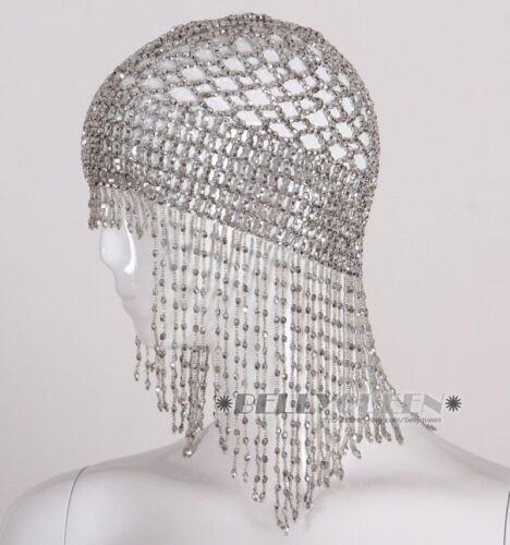 USA Jewelry Women Belly Dance Costume Cap Headdress Beaded Gold Silver Elastic