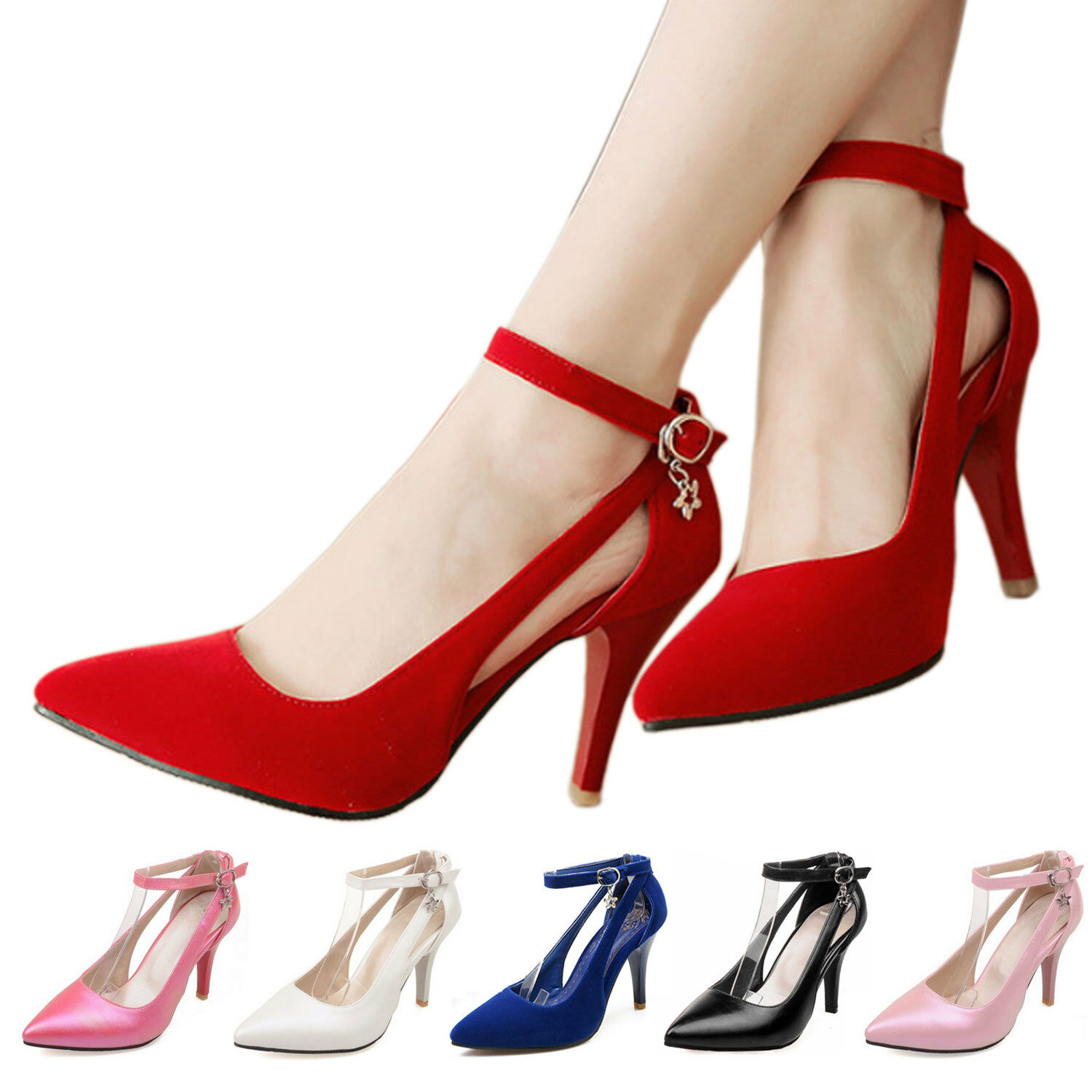 Pointed toe Sandals shoes high heels Prom Buckle Womens Pumps Size 0-18 CCC