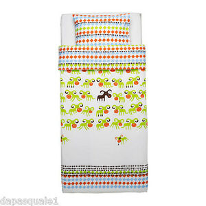 IKEA-KOSSAN-Duvet-Cover-and-Pillowcase-Twin-Green-Multicolor