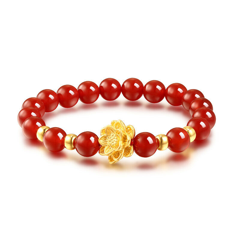 999 24K Yellow gold Bracelet Women Red Agate Weave With lotus + Bead 6.7 L