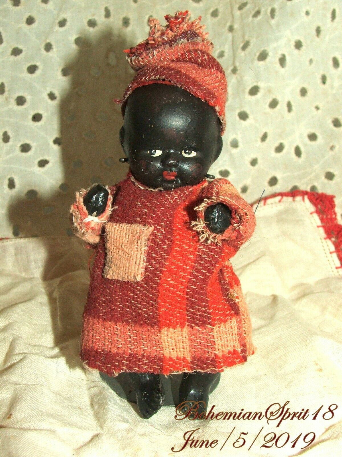 Antique 30's Signed Japan African American Jointed Bisque 4''  Baby BOY Doll