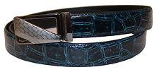 New Men's Navy Blue Alligator Print Genuine Leather Belt