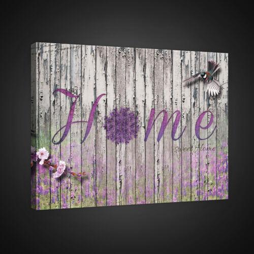 Canvas muro imagen lienzo imagen fotografía Home madera pájaro tablones flores lila 3fx2313o4