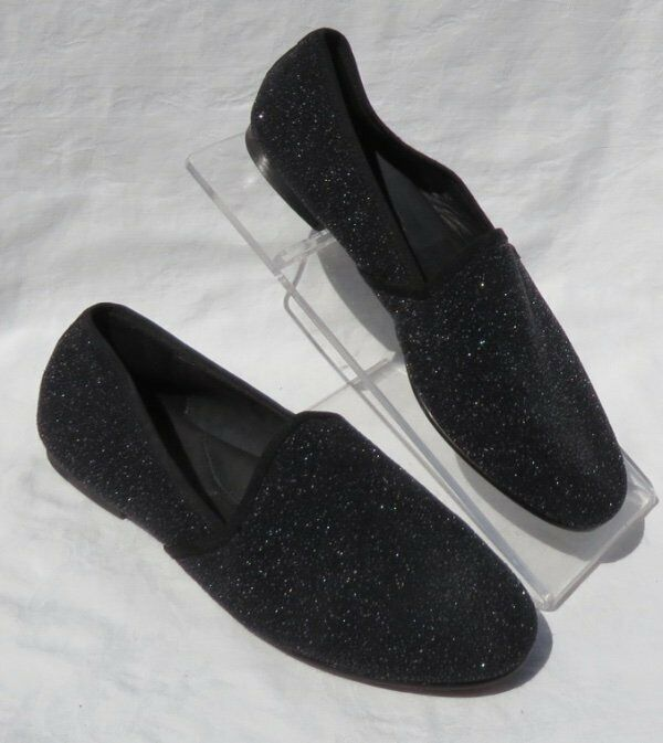 GENTLE SOULS Black Leather Textured EDGE-Y Slip On On On Loafers Flats shoes US 9.5 10 87bfcd